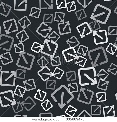 Grey Open In New Window Icon Isolated Seamless Pattern On Black Background. Open Another Tab Button