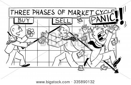 Vector Funny Cartoon Drawing Of Stock Market Phases And Cycles. Investors Buy, Sell And Panic With F