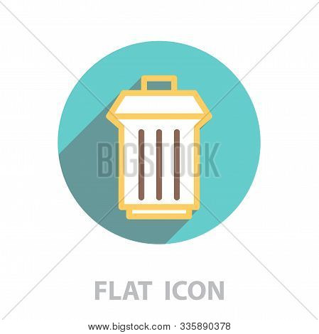 Trashcan Icon. Vector Illustration In A Flat Style