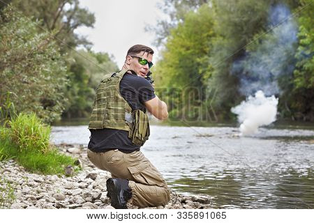 Full Military Experience - One Day Commando - In Actionby The Water With Automatic Rifle Replica