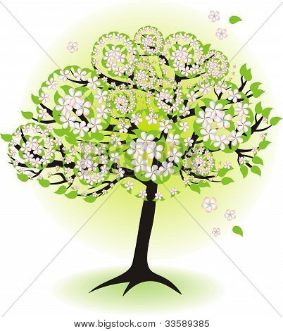 Season Tree For Spring With Leafs And Flowers