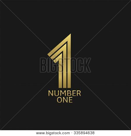 Number One. First Place Icon. Golden Number One Badge, Winner And Champion Sign, Victory Symbol Vect