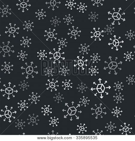 Grey Distribution Icon Isolated Seamless Pattern On Black Background. Content Distribution Concept.