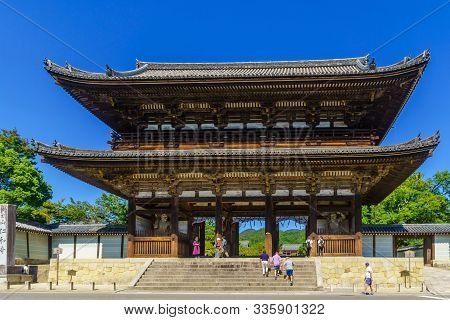 Kyoto, Japan - October 9, 2019: View Of The Niomon (the Gate With A Pair Of Kongo Rikishi Statues) O