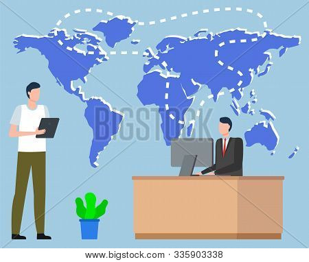 Logistics Worldwide B2b, Shipping Tracking On Map, Communication By Computer. International Delivery