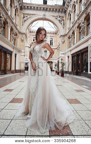 Beautiful Delicate Young Woman, Sexy Bride In Luxurious Wedding Dress.