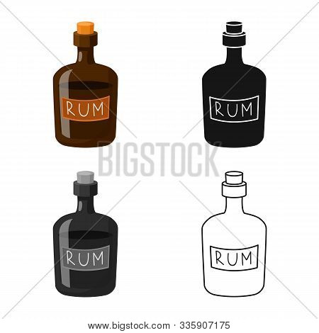 Vector Design Of Rum And Bottle Logo. Set Of Rum And Stopper Stock Symbol For Web.