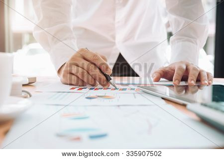 Office Workplace With Business Finance, Accounting,laptop On Wood Table.finance Statistics And Analy
