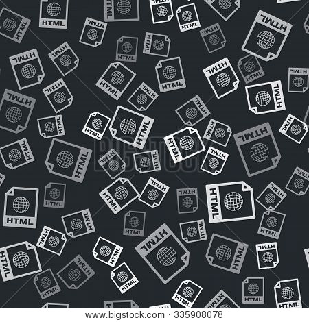Grey Html File Document. Download Html Button Icon Isolated Seamless Pattern On Black Background. Ht