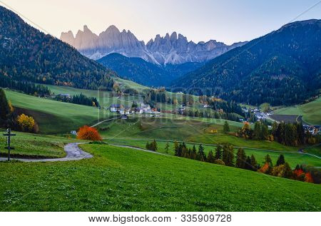 Autumn Daybreak Santa Magdalena Famous Italy Dolomites Village View In Front Of The Geisler Or Odle