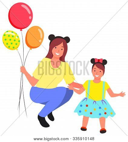 Daughter With Mother Celebrating Holiday Vector, Isolated Kid And Mom Holding Inflatable Balloons Fl