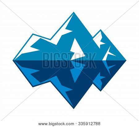 Vector Symbol Of Arctic Winter Ice Mountain. Icon Of Blue And White Iceberg In Ocean. Abstract Desig