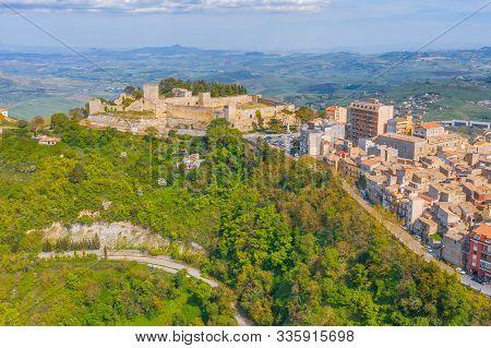 Castello Di Lombardia Lombardy Castle Aerial View In Enna, Sicily, Italy