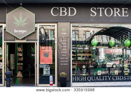 Vienna, Austria - November 6, 2019: Cbd Store In The Center Of Vienna, Selling Cannabis And Marijuan