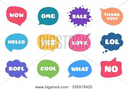 Chat Bubble Talk Phrases. Clouds With Different Words. Speech Bubbles With Text. Wow, Omg And Yes Ta