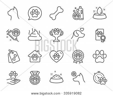 Pets Line Icons. Veterinary, Dog Care And Cat Food. Lovely Animals, Shampoo For Pets And Doghouse Ic