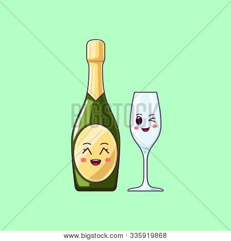 Cartoon Kawaii Champagne With Grinning Face. Cute Champagne Bottle With Wineglass, Festive Character