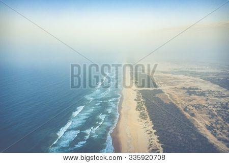 Aerial View Of Senegal Atlantic Cost. Paradise Beach.