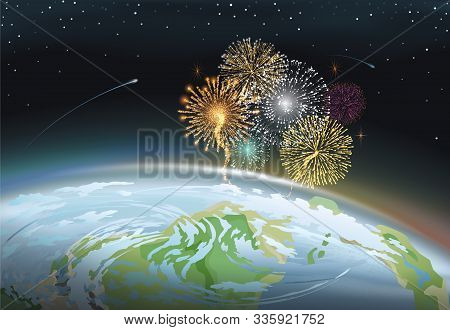 Celebration Of Holidays With Pyrotechnics. Festival Or Carnival Fireworks Above Planet Earth. Splash