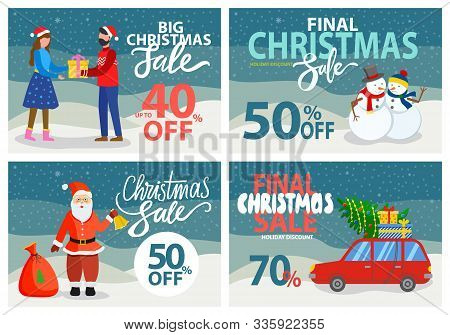 Final Christmas Sale, Set Of Cards With Traditional Xmas Characters And Symbols. Santa Claus With Be