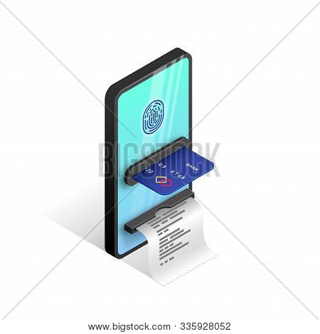 Mobile Payment Isometric Design Concept. Online Transaction Template With 3d Smartphone Integrated A