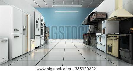 Kitchen Appliances In Supermarcket 3d Render Image Background