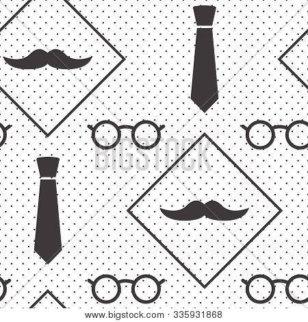 Male Seamless Pattern, Gentlemens Print With Mustaches, Ties And Glasses On Polka Dot Background, Wr