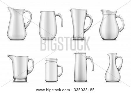 Pitchers, Jugs And Jar Mug 3d Vector Design. Empty White Ceramic Or Porcelain Tableware Of Realistic