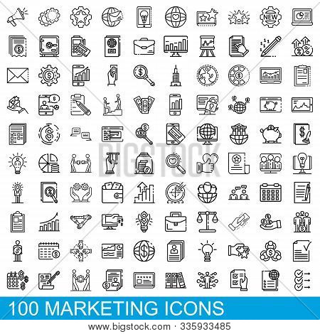 100 Marketing Icons Set. Outline Illustration Of 100 Marketing Icons Vector Set Isolated On White Ba