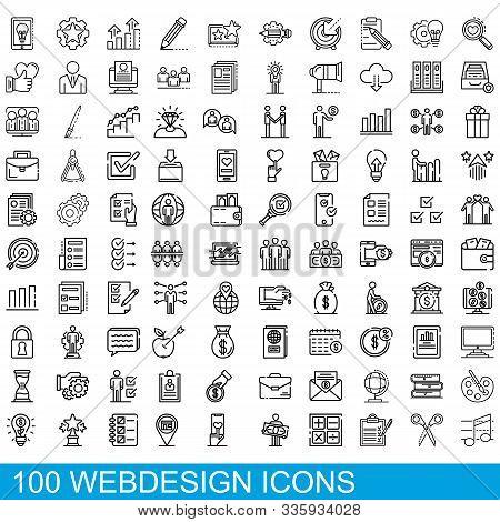 100 Webdesign Icons Set. Outline Illustration Of 100 Webdesign Icons Vector Set Isolated On White Ba