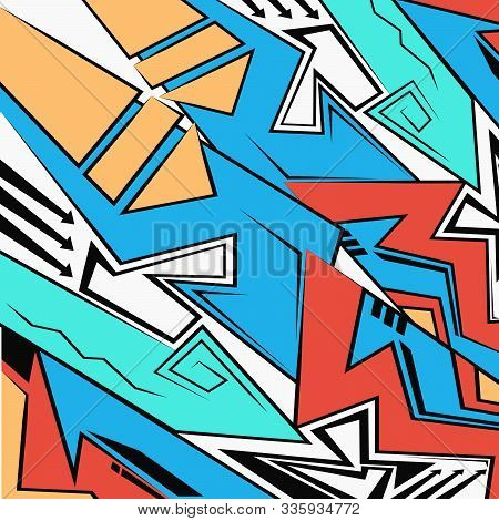 Abstract Geometric Futuristic Bright Background,graffiti Drawing Style. Vector Illustration, Modern