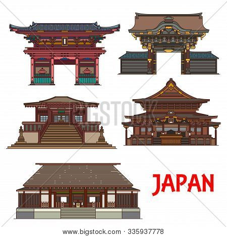 Travel Landmarks Of Japan Vector Design With Tokyo Religious Building Icons. Shinto Buddhism Temple