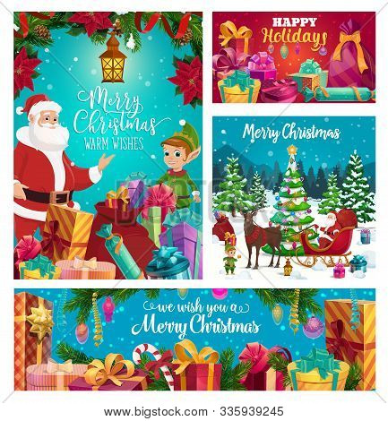 Winter Holidays Celebration, Santa Claus And Elf Helper. Vector Sleigh And Deer, Forest And Xmas Tre
