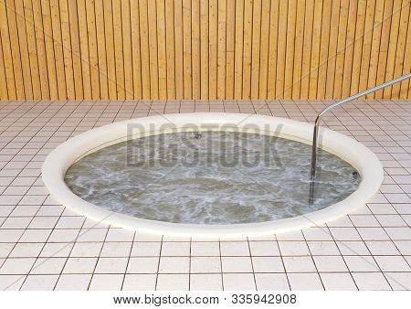 3D rendering of a jacuzzi room with hot tubs poster