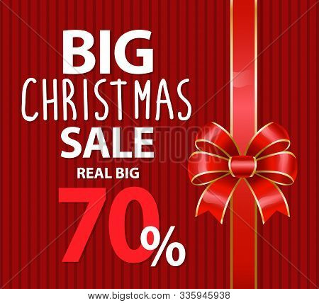 Big Christmas Sale Promotion Banner With Ribbon Bow. 70 Percent Off Price, Reduction Of Cost In Wint