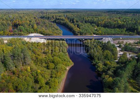 View Of The Bridge Over The Mezha River On The R-243 Highway On A Sunny September Day (aerial Photog
