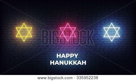 Happy Hanukkah. Neon Stars Of David Jewish Sign Decorations For Chanukah