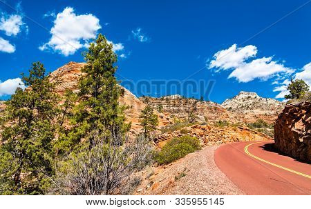The Scenic Zion-mount Carmel Highway At Zion National Park - Utah, United States