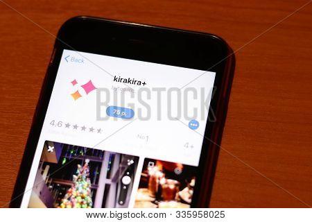 Los Angeles, California, Usa - 26 November 2019: Kirakira App Store Page Close Up On Desk Top View,