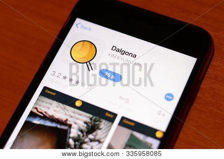Los Angeles, California, Usa - 26 November 2019: Dalgona App Store Page Close Up On Desk Top View, I