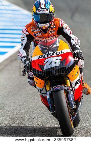 Jerez De La Frontera, Spain - Mar 25: Motogp Motorcyclist Dani Pedrosa Races In The Official Trainni