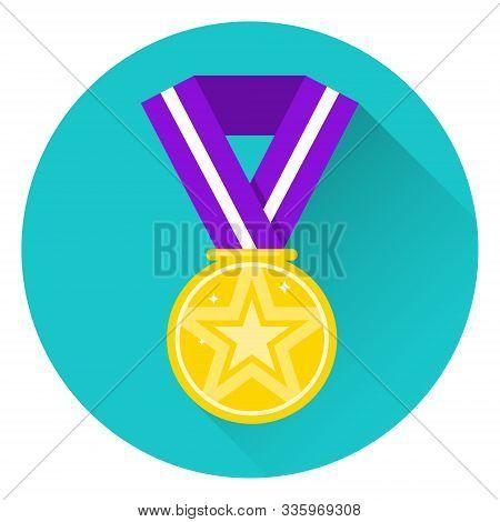 Medal, Gold Sports Medal. Vector Illustration Of A Gold Medal.