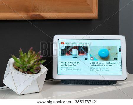 Nov 2019, Uk - Google Nest Hub In Living Room Den Showing Youtube Videos List