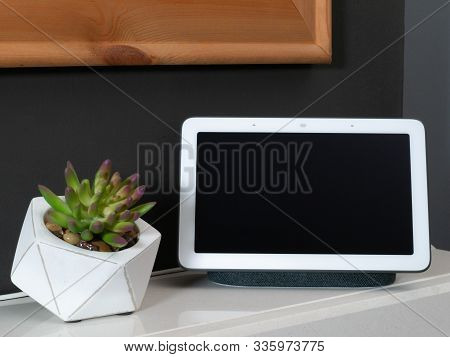 Smart Home Speaker Voice Assistant Touchscreen In Home Setting