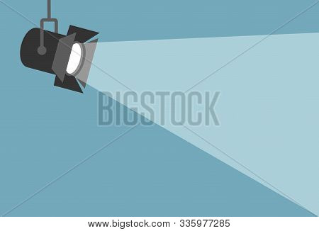 Spotlight Shining Flat Illustration. Movie Spotlight On Blue Background