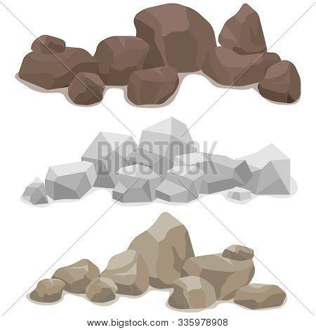 Stones, A Set Of Various Stones. Mountain Of Stone.