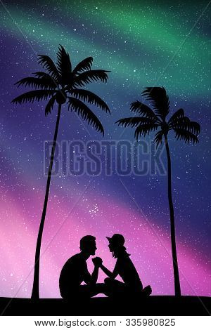 Lovers Sitting On Sand Under Palm Trees At Night. Vector Illustration With Silhouette Of Couple On B
