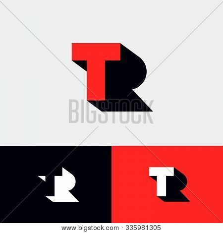 T, R Logo Concept. Red T Letter With Shadow Like Letter R On A White  Background. Network, Web, Ui I