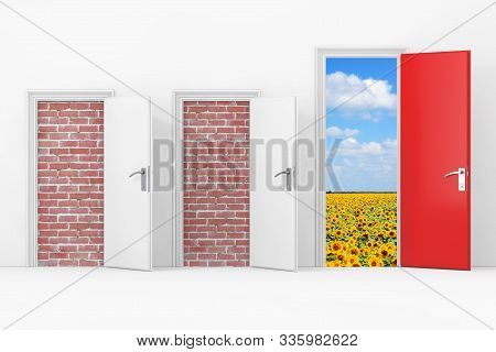 Three Business Office Doors, Two Doors Blocked With Brick Wall, One Big, Main, Opened And Red Door W