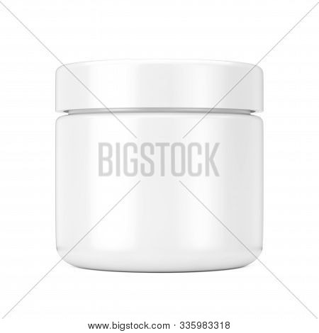 White Cosmetic Jar With Lid For Cream Or Gel Mockup On A White Background. 3d Rendering